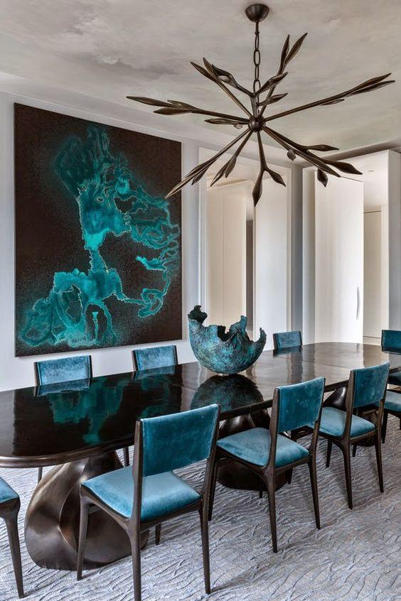 D coration int rieure bleu salle manger chaise for Mobilier salle a manger contemporain