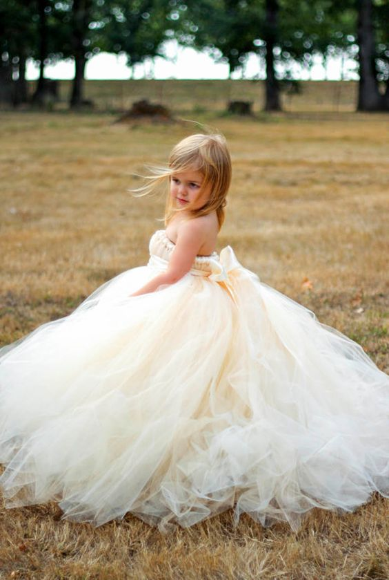 Ivory champagne flower girl dress with detachable train. This is so happening!!!