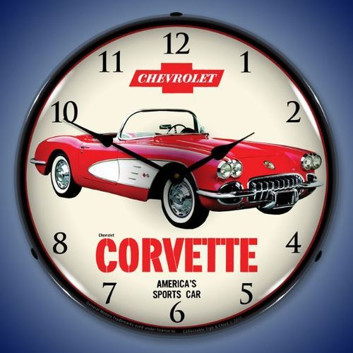 1959 Chevrolet Corvette Led Lighted Wall Clock 14 X 14 Inches Chevrolet Corvette Wall Clock Light Corvette
