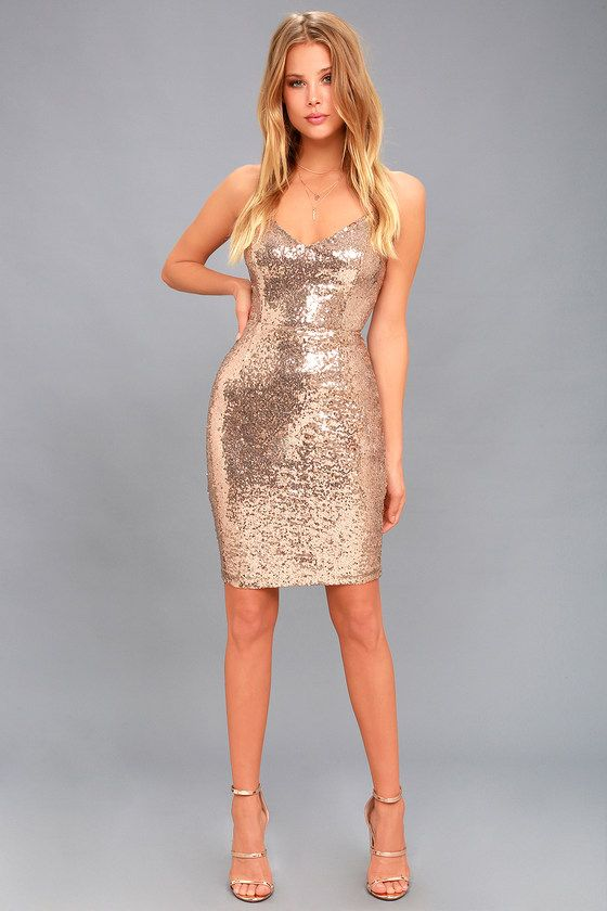 62953bebe6 As Good As It Glitz Gold Sequin Bodycon Dress in 2019
