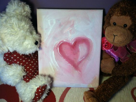 Pink Heart on pastel pink background w/ highlights by elfWorksLane, $39.00