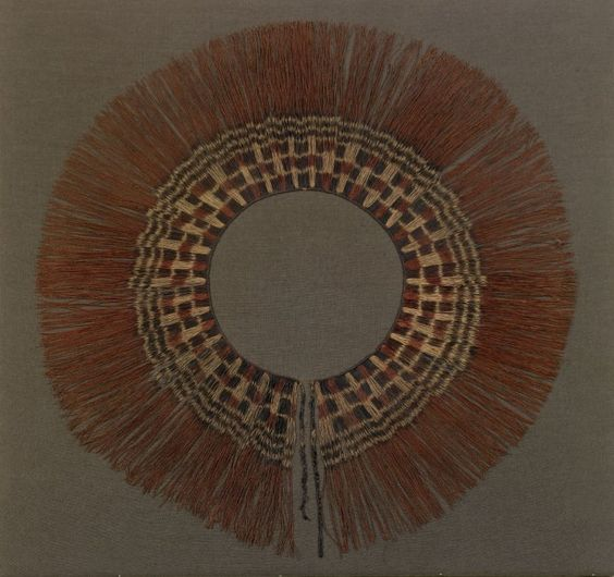 Ubanga people, Ngala subgroup - Woman's prestige skirt Date: early 20th century Location: Not on display Century: 20th Century AD Media: Raffia; Bound-resist Dyeing Dimensions: 66 cm (26.5 in.)