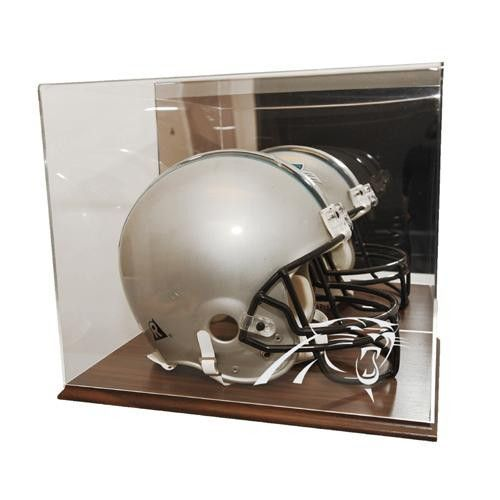 Carolina Panthers NFL Full Size Football Helmet Display Case (Wood Finish)