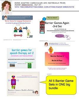 http://www.teacherspayteachers.com/Product/Barrier-Games-Bundle-1-5-for-Speech-Therapy-Language-Development-678310:  $   A bundle of different barrier game activities for building language skills