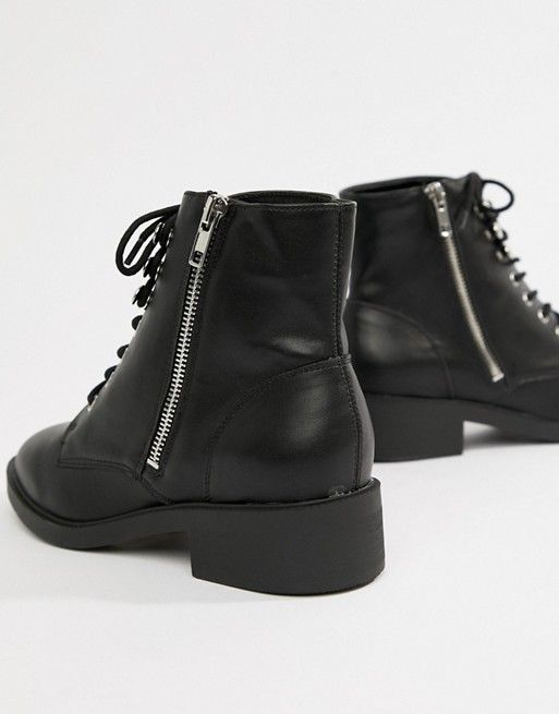 New Look Wide Fit Lace Up Flat Ankle