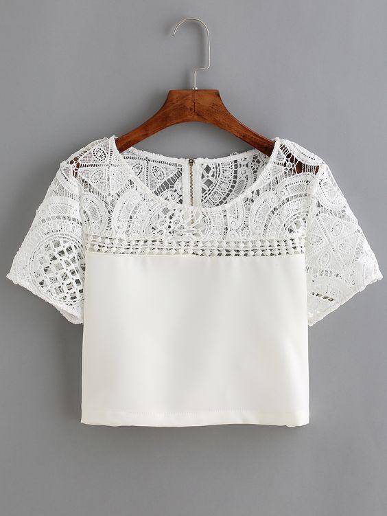 blouse en dentelle et crochet manche courte blanc wedding manche and summer. Black Bedroom Furniture Sets. Home Design Ideas