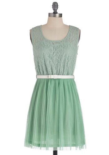 Peppermint Frosting Dress - Short, Lace, Pleats, Sleeveless, Pastel, Belted, Sheer, Mint, Casual, Graduation, Wedding, Bridesmaid For sarah