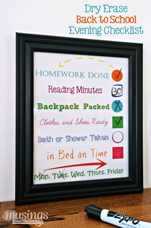 This Dry Erase Back to School Evening Checklist will make your family's transition back to the school season smoother.: