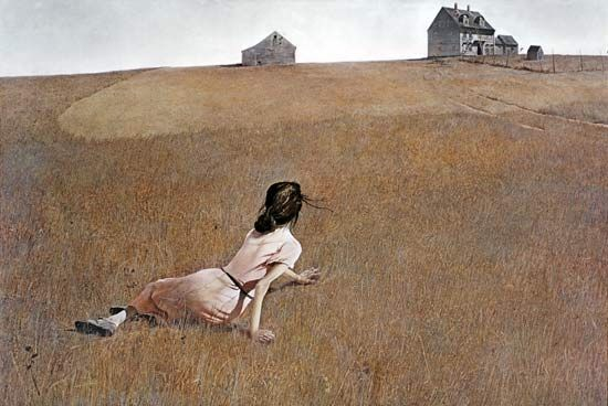 "Christina's World by Andrew Wyeth. It depicts Christina Olson, who had polio, lying on the ground in a treeless, mostly tawny field, looking up at and crawling towards a grey house on the horizon. Christina was the artist's neighbor in Maine, who, crippled by polio, ""was limited physically but by no means spiritually."""