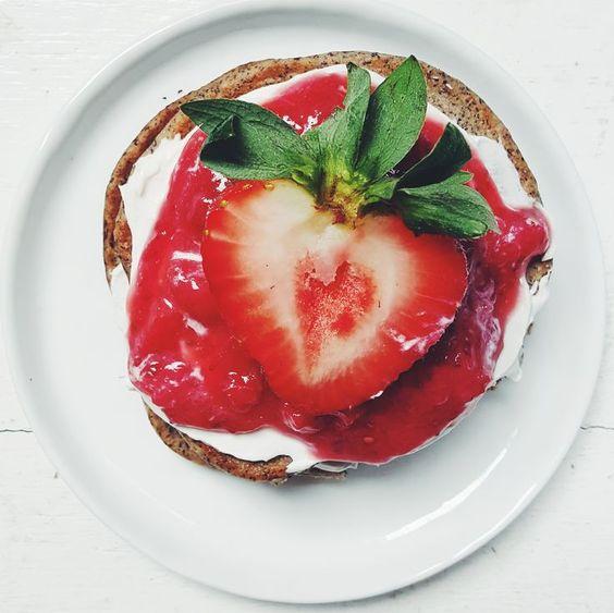Strawberry Shortcake Pancakes w/ Rose Coconut Cream