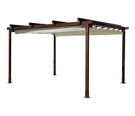 p rgola de 4 x 3 m eco con toldo leroy merlin rooftop. Black Bedroom Furniture Sets. Home Design Ideas
