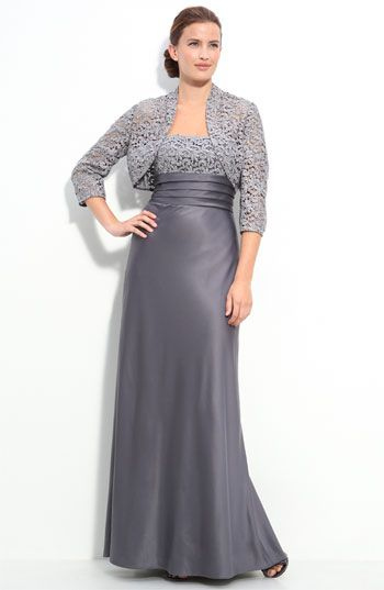 Platinum Grey Mother of the Bride Dress. Two pc Evening Gown for ...