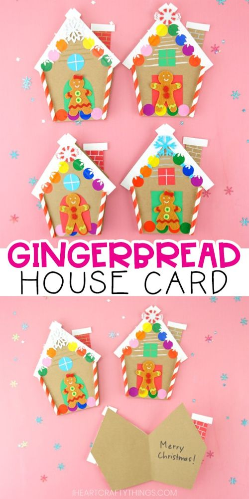 How To Make A Gingerbread House Card For Christmas Christmas Coloring Cards Holiday Card Template Christmas Card Template