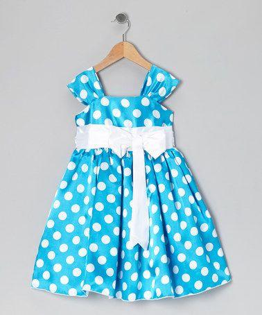 Kid Fashion Royal Blue Polka Dot Bow Dress - Infant Toddler ...
