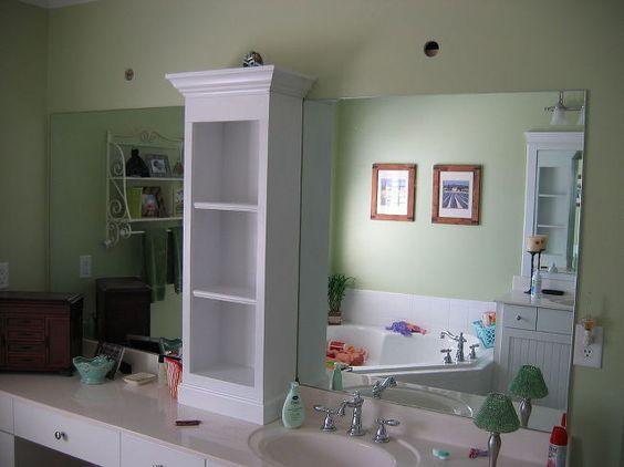 revamp that large bathroom mirror  bathroom  design d cor  Added shelving  unit and. revamp that large bathroom mirror  bathroom  design d cor  Added