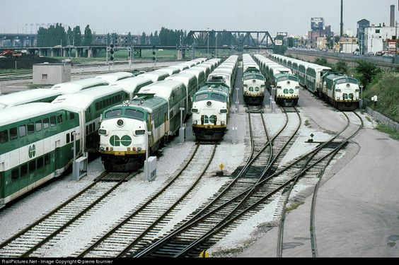 GO Transit (Greater Toronto Transit Authority) EMD FP9 spadina yard Toronto, Ontario, Canada August 01, 1986.