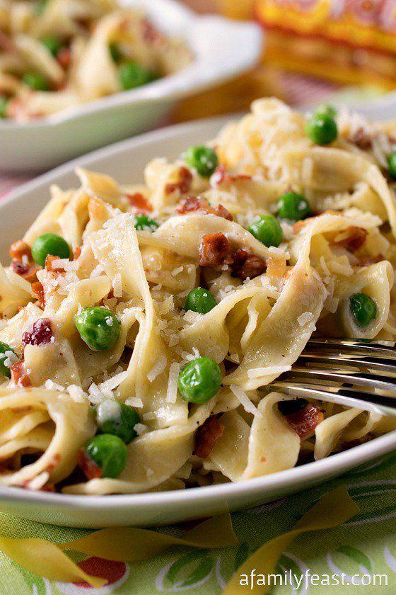 Straw and Hay (Paglia e Fieno) - A simple, classic Italian dish of pasta, peas and prosciutto in a light Parmesan cream sauce.