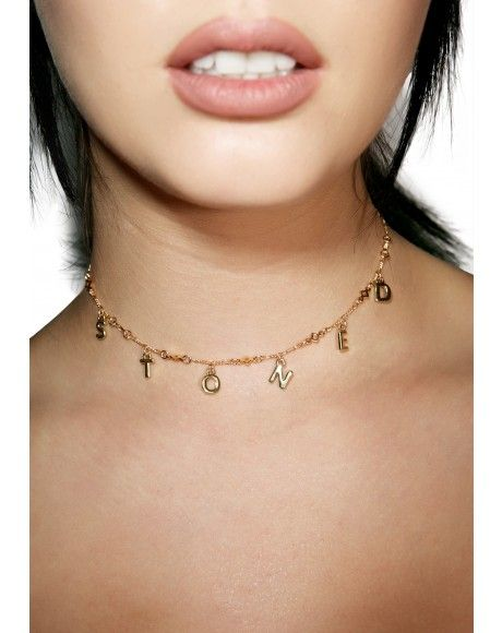 #DollsKill #lookbook #photoshoot #model #FraiserSterling #stoned #necklace #gold #chain #charms #choker #cute #jewelry