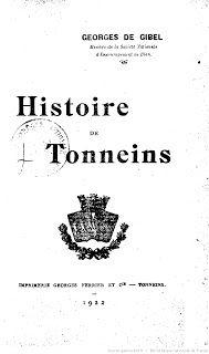 """l'instant des lecteurs: """"Histoire de Tonneins"""" - Georges DE GIBEL"""