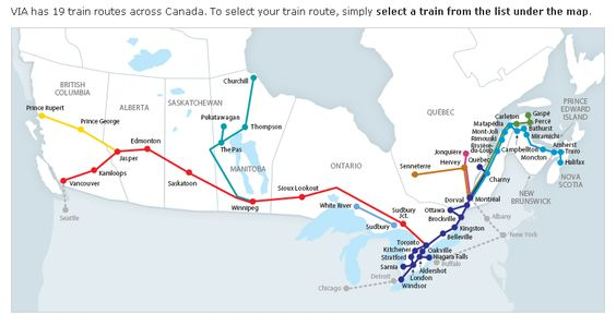 Via Rail Map http://www.viarail.ca/