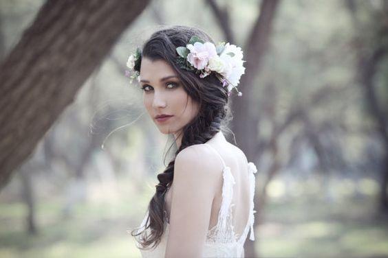 Couronne florale de gardénia, fille de fleur, Ivoire couronnes, bois rustique, Bridal bandeau, couronne de mariage, diadème Floral, rustique Ivoire Couronne de fleurs