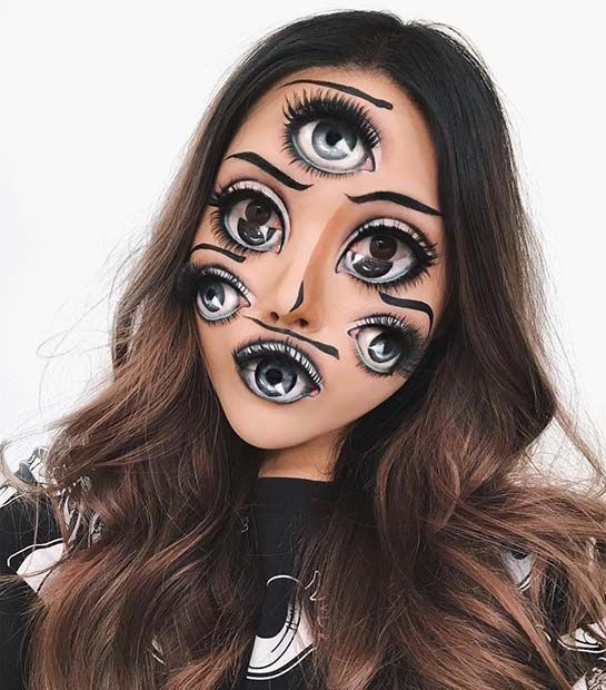 23 Trippy Illusion Makeup Looks For Halloween Page 2 Of 2 Stayglam Amazing Halloween Makeup Halloween Makeup Halloween Makeup Looks