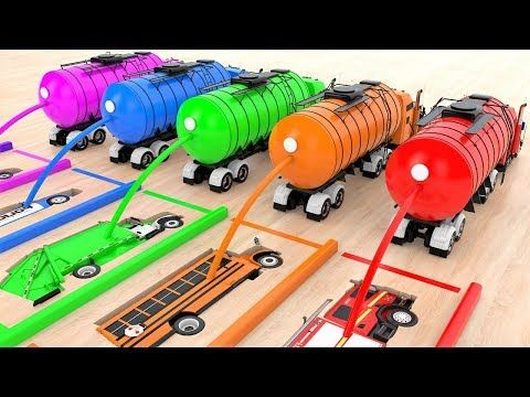 Colors For Children To Learn With Street Vehicles Toys W Magic Liquids Ni Jw Mobil Jjsjsjjwjej Bbn Esa W Mb Coloring For Kids Water Tank Truck Car Videos
