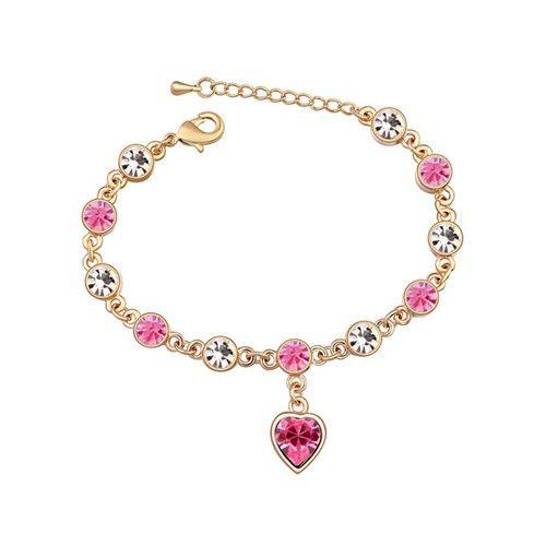 Aranyszín szív rózsaszín kristályos karkötő I FeminaShop.hu