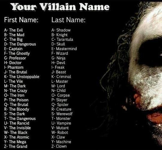 what is your villain name? Mines the dark wizrad. So basically what every Villain been called at least once.