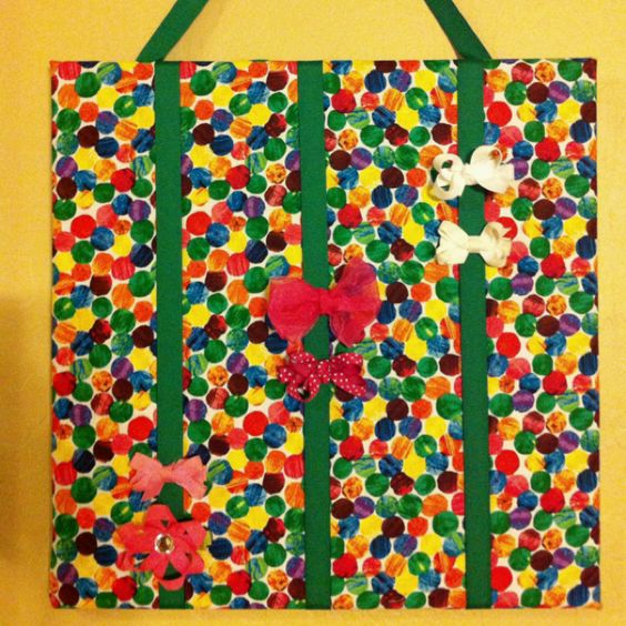 Hungry Caterpillar Bow Board- I made this to go in my daughter's Hungry Caterpillar bathroom. I was inspired by so many cute bow boards on pintrest!