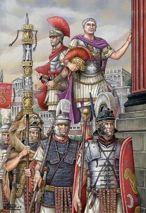 The emperor, a senior officer and Praetorian guardsmen together with their standard bearer.
