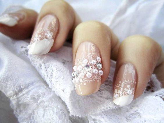 Amazing white lace nails by Sigi Porat.