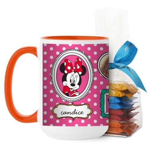 Disney Minnie And Friends Mug, Orange, with Ghirardelli Minis, 15 oz, Pink