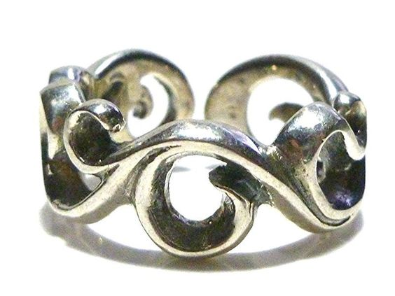 DESIGNER ORNATE SCROLL WORK STERLING SILVER WOMENS RING BAND SIZE 7.5