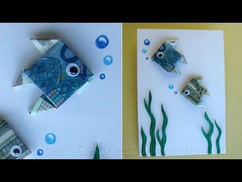 Geldschein falten: Fisch zum Geldgeschenke basteln - Origami - YouTube