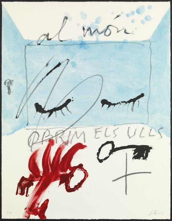 "ANTONI TÀPIES ""Al món obrim els ulls"" Litografía sobre plancha de zinc, realizada artesanalmente en el Taller Aznar (Bcn). Pepel BFK Rives 250g. 75 ejemplares, firmados y numerados a mano por el mismo artista. 64x50cm"