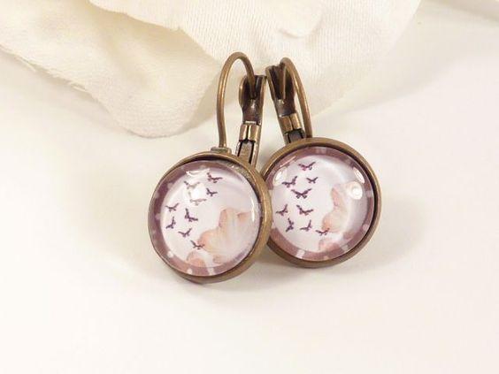 ✿ Schmetterling Ohrringe ✿  Cabochon Ohrringe von Perlen-Schlösschen ❀ auf DaWanda.com