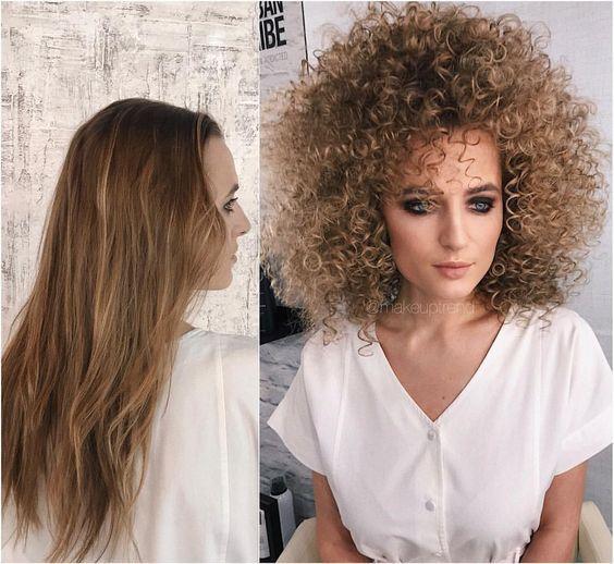 Transformation Coiffure Longue Raide En Frisee Permed Hairstyles Big Curly Hair Curly Hair Styles