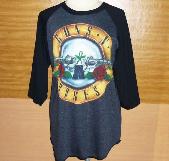 Image of Guns N Roses Shirts Long Guns and Roses Shirt Punk Rock Axl Rose Baseball Shirt Women Lady Shirt