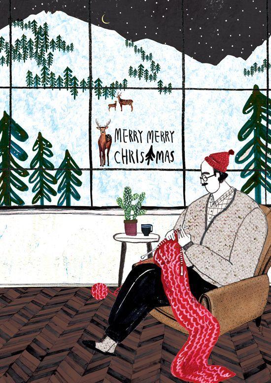 Rim Draw 일러스트레이션 및 포스터 그리기 아이디어 크리스마스 카드