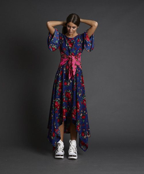 Vestido Lazada Azul Flores Fashion Dresses Autumn Fashion