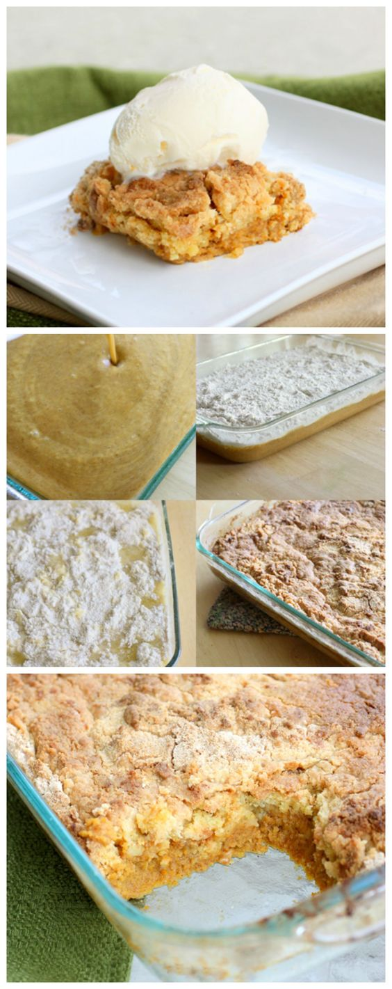 """An easy fall pumpkin cake that is """"dumped"""" into a pan and baked. It's just that simple. :)"""