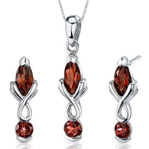 Ornate 2 Stone Design 3.00 carats Marquise Cut Sterling Silver with Rhodium Finish Garnet Pendant Earrings Set Peora. $44.99. Save 75% Off!
