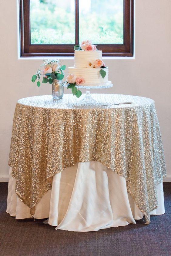 Unique Wedding Ideas: Add Sparkle with Sequins - wedding cake table idea; Rachel Solomon Photography via Style Me Pretty