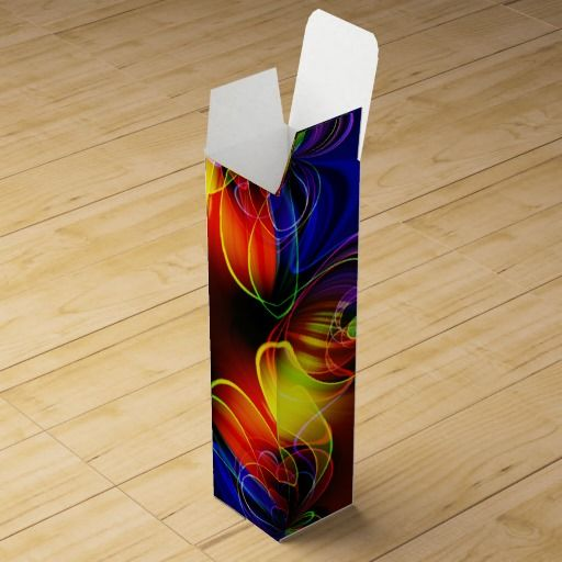 Neon Lights Fractal Wine Bottle Gift Boxes