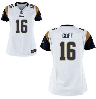 Women's Los Angeles Rams #16 Jared Goff Nike White 2016 Draft Pick Game Jerseyy