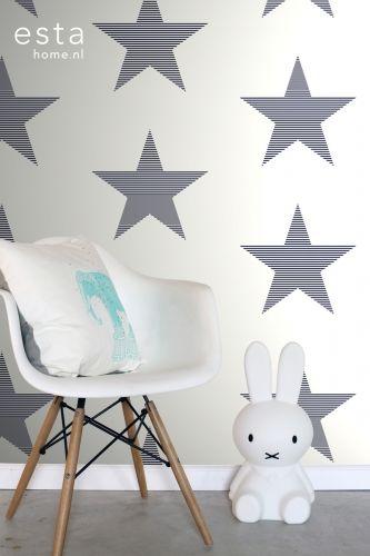 Behang Ster blauw gestreept? De leukste Behang voor de kinderkamer bij Saartje Prum.