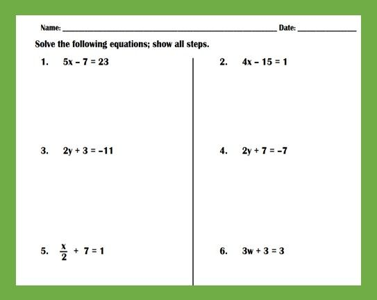 Solving Two-Step Equations Practice Worksheet Algebra Worksheets, Literal  Equations, Two Step Equations