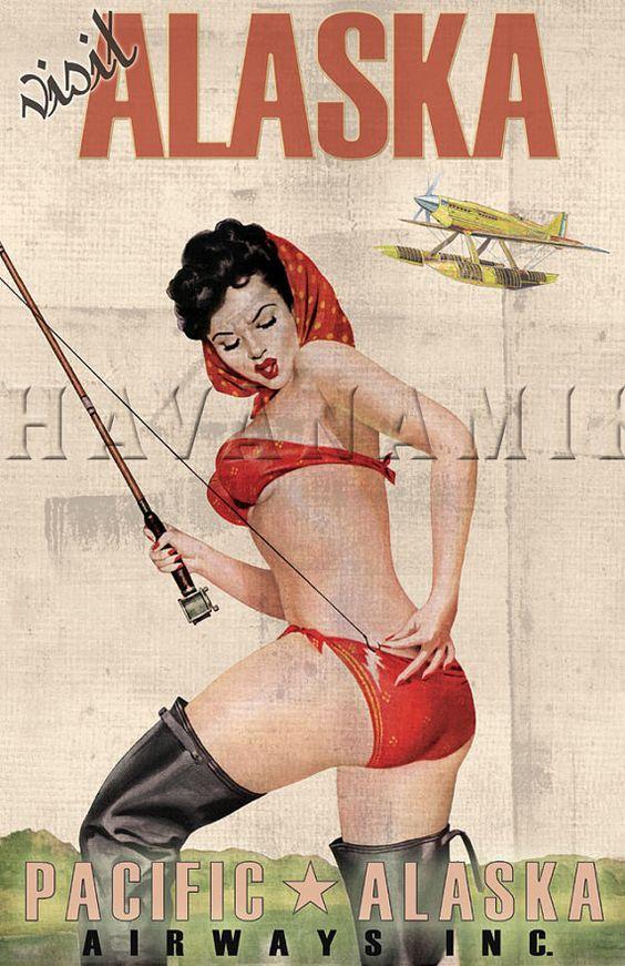 ALASKA Fishing Travel Vintage Pinup Poster Print by CarlsonBrands, $19.95