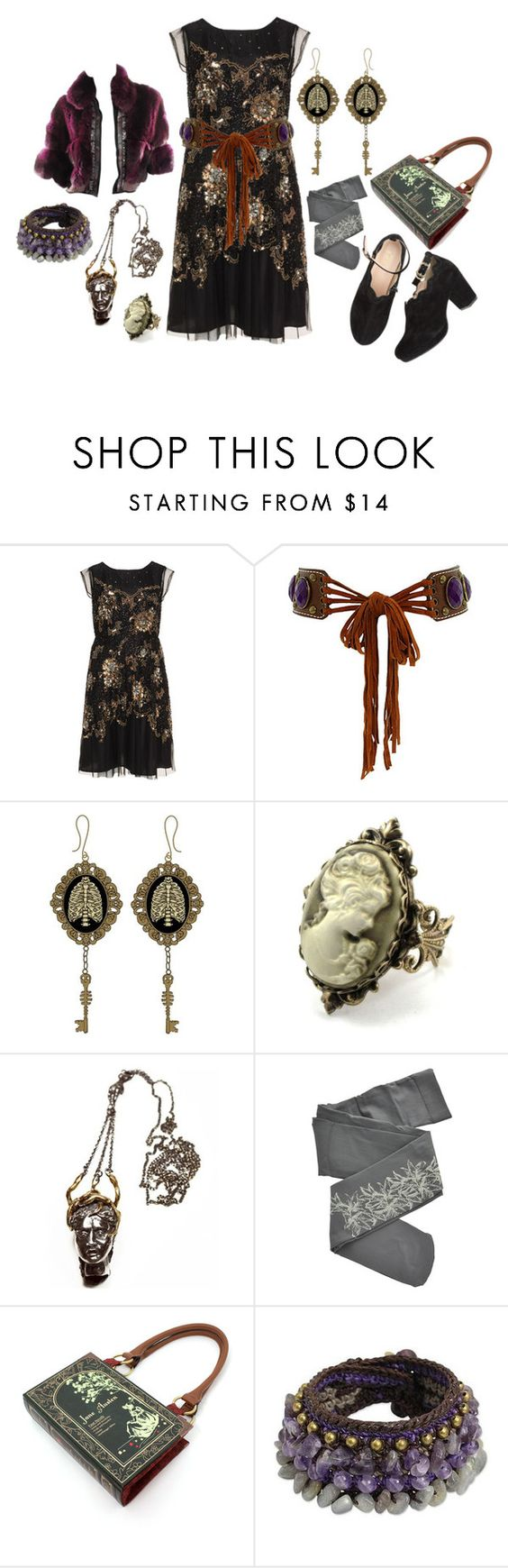 """""""Dolly kei"""" by roseunspindle ❤ liked on Polyvore featuring navabi, Leatherock, Cameo, Aesa, ZOHARA, NOVICA, Roberto Cavalli, black, fur and Sequin"""